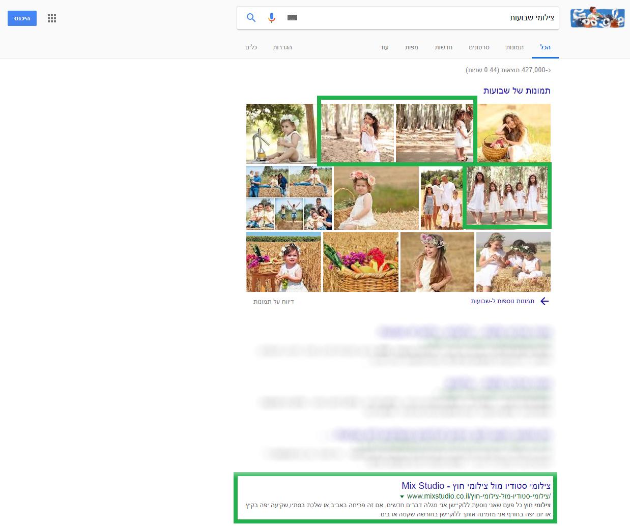 דוגמא לדירוג תמונות לחיפוש צילומי שבועות