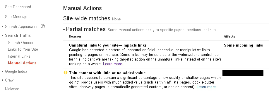 manual webspam actions found